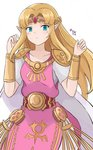 1girl armband artist_name bangs belt blonde_hair blue_eyes blush cape collarbone commentary dot_nose dress frown gloves hair_ornament highres jewelry kgctcg long_hair looking_at_viewer pink_dress pointy_ears princess_zelda rupee short_sleeves simple_background solo standing the_legend_of_zelda the_legend_of_zelda:_a_link_between_worlds tiara twitter_username white_background white_cape