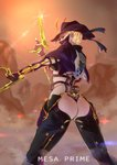 1girl ass bangs blonde_hair bodysuit breasts character_name commentary_request cowboy_shot dual_wielding from_behind gloves gun hand_up handgun hat highres holding holding_gun holding_weapon humanization looking_at_viewer looking_back mask medium_breasts mesa_(warframe) mesa_prime_(warframe) phytoster pistol solo thong trigger_discipline underboob warframe weapon yellow_eyes