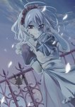 1girl adjusting_hair arm_behind_back arm_up blush braid closed_mouth cover cover_page doujin_cover eyebrows_visible_through_hair izayoi_sakuya looking_at_viewer maid_headdress monochrome outdoors puffy_short_sleeves puffy_sleeves short_hair short_sleeves smile solo touhou yuki_(popopo)