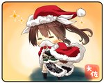 1girl =_= artist_name asymmetrical_legwear black_gloves brown_hair cape chibi elbow_gloves fake_facial_hair fake_mustache full_body fur-trimmed_cape fur_trim gloves hair_between_eyes hair_ribbon hat kantai_collection long_hair pelvic_curtain red_cape remodel_(kantai_collection) ribbon santa_hat single_elbow_glove single_glove single_thighhigh solo standing taisa_(kari) thighhighs tone_(kantai_collection) twintails white_ribbon yellow_background