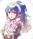 1girl blue_eyes blue_hair blush cosplay felicia_(fire_emblem_if) felicia_(fire_emblem_if)_(cosplay) fire_emblem fire_emblem:_kakusei fire_emblem_if liefe looking_at_viewer lucina maid maid_cap pointy_ears ponytail simple_background smile white_background