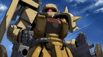 cloud cloudy_sky day gundam gundam_msv highres looking_at_viewer mecha mobile_suit_gundam no_humans one-eyed red_eyes shoulder_spikes sky solo spikes tenrai upper_body weapon zaku_ii