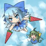 2girls advent_cirno blue_dress blue_eyes blue_hair blue_sky blush cirno cloud daiyousei dress dual_wielding fairy_wings flying food fruit green_hair hair_ribbon ice ice_wings ka_zhi multiple_girls open_mouth ribbon side_ponytail sky sword touhou watermelon weapon wings |_|