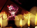 absurdres alpha.e ascot bat_wings blurry brooch candle candlelight depth_of_field dress expressionless facing_viewer flame flower grand_piano hat hat_flower hat_ribbon highres instrument jewelry looking_down messy_hair mob_cap piano playing_instrument portrait purple_hair red_eyes remilia_scarlet ribbon touhou wings
