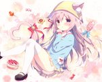1girl animal_ears artist_name azur_lane bell between_legs black_footwear blue_bow blue_shirt blush bow candy candy_wrapper cat_ears cat_girl cat_tail commentary_request cookie ears_through_headwear food hair_ribbon hat heart heart_tail jingle_bell kindergarten_uniform kisaragi_(azur_lane) lollipop long_hair long_sleeves looking_at_viewer mary_janes one_side_up parted_lips pink_hair pleated_skirt purple_eyes red_bow red_ribbon ribbon school_hat shiratama_(shiratamaco) shirt shoes skirt solo star swirl_lollipop tail tail_bell tail_between_legs tail_bow thighhighs very_long_hair white_legwear yellow_hat yellow_skirt