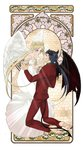 1boy 1girl angel angel_and_devil angel_wings aqua_eyes art_nouveau azu_(asler23615) bare_shoulders barefoot bishoujo_senshi_sailor_moon black_hair blonde_hair blurry demon_tail demon_wings detached_sleeves devil double_bun dress facial_mark feathered_wings fingernails flower forehead_mark formal full_body hair_ornament hairclip halo highres horns kneeling lily_of_the_valley long_fingernails long_toenails looking_at_another pants parted_lips ponytail princess_serenity red_pants rose seiya_kou suit tail tile_background toenails tsukino_usagi twintails white_dress wings