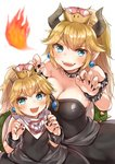 2girls bandana bangs black_collar black_dress blonde_hair blush bowsette bowsette_jr. bracelet breasts breathing_fire brooch claw_pose cleavage collar commentary dress earrings eyebrows_visible_through_hair fingernails fire highres horns jewelry koretsuna long_hair looking_at_viewer mario_(series) medium_dress mother_and_daughter multiple_girls new_super_mario_bros._u_deluxe open_mouth pointy_ears sharp_fingernails sharp_teeth short_ponytail simple_background smile spiked_armlet spiked_bracelet spiked_collar spiked_shell spikes standing strapless strapless_dress super_crown teeth turtle_shell white_background