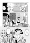 3girls alice_margatroid aozora_market apron ascot black_dress bow broom capelet comic doujinshi dress greyscale hairband hat hat_bow highres kirisame_marisa mini-hakkero monochrome multiple_girls patchouli_knowledge scan touhou translated witch_hat