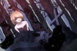 1girl alternate_costume arms_behind_back bare_arms bare_shoulders black_dress blonde_hair blurry cacao_devil collarbone cross darkness depth_of_field dress dutch_angle fangs forest hair_over_one_eye hair_ribbon layered_dress looking_at_viewer nature open_mouth outdoors red_eyes ribbon rumia short_hair sleeveless sleeveless_dress solo strapless strapless_dress touhou