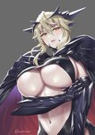 arm_guards armor artoria_pendragon_(all) artoria_pendragon_(lancer_alter) blonde_hair breast_hold breasts cape cleavage cleavage_cutout commentary_request covered_nipples cuboon fate/grand_order fate_(series) hair_between_eyes hair_ornament hand_on_own_arm highres large_breasts long_hair looking_at_viewer navel nipples_slip pale_skin parted_lips shiny shoulder_armor solo twitter_username underboob upper_body yellow_eyes