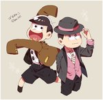2boys :3 alternate_costume brothers fedora flower_(symbol) hat heart heart_in_mouth highres huni0617 male_focus matsuno_juushimatsu matsuno_todomatsu multiple_boys necktie osomatsu-kun osomatsu-san siblings sleeves_past_wrists smile striped striped_necktie suspender_shorts suspenders twitter_username