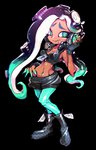 1girl aqua_eyes aqua_hair aqua_legwear aqua_skin black_background black_footwear black_gloves black_hair black_shorts boots breasts cleavage crop_top dark_skin fingerless_gloves full_body furrowed_eyebrows gloves groin headphones highres horizontal_pupils ifelt_(tamaki_zutama) iida_(splatoon) long_hair mole mole_under_mouth multicolored multicolored_hair multicolored_skin navel navel_piercing pantyhose pantyhose_under_shorts piercing pink_pupils shorts simple_background sleeveless small_breasts smile solo splatoon splatoon_2 standing tentacle_hair two-tone_hair two-tone_skin unzipped zipper zipper_pull_tab