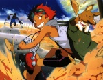 1girl absurdres androgynous animal artist_request backpack backpack_travel bag barefoot bike_shorts blush_stickers cloud cowboy_bebop dark_skin day dog dust_cloud edward_wong_hau_pepelu_tivrusky_iv ein_(cowboy_bebop) goggles grin ground_vehicle highres in_bag in_container jupiter looking_back motor_vehicle mushroom official_art planet railroad_crossing red_hair reverse_trap road scan scooter short_hair smile solo tomboy welsh_corgi yellow_eyes