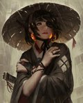 1girl absurdres black_eyes black_hair black_kimono black_ribbon bracelet commentary crossed_arms earrings english_commentary eyepatch finger_ribbon fingernails gloves glowing glowing_earrings grey_eyes guweiz hair_tubes hat highres japanese_clothes jewelry katana kimono lips looking_afar looking_away looking_to_the_side nose original parted_lips rain red_lips red_ribbon revision ribbon samurai self_hug sheath sheathed short_hair single_glove solo straw_hat sword weapon wide_sleeves