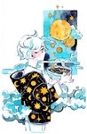 1girl artist_name cereal cloud cowboy_shot crater crescent_moon earrings jewelry long_sleeves maruti_bitamin moon original planet profile short_hair smile solo spoon white_hair yellow_eyes