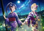2girls bag bagged_fish blonde_hair blue_hair blush embarrassed fish flower goldfish hair_flower hair_ornament highres holding_hands japanese_clothes kimono long_hair looking_at_another love_live! love_live!_school_idol_festival love_live!_sunshine!! matsuura_kanan moon multiple_girls official_art ohara_mari open_mouth ponytail purple_eyes sash sky smile star star_(sky) starry_sky surprised yellow_eyes yukata yuri