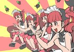 +_+ 4girls apron bangs bare_shoulders black_dress blunt_bangs blush bonnet clenched_hand clenched_hands commentary_request couch dress eyebrows_visible_through_hair gaijin_4koma hair_ribbon higa_norio jpeg_artifacts kemurikusa kemurikusa_(object) looking_to_the_side meme multicolored multicolored_background multiple_girls open_mouth pink_ribbon pointing red_background red_eyes red_hair ribbon rina_(kemurikusa) simple_background sitting sleeveless sleeveless_dress sunburst sunburst_background twintails v-shaped_eyebrows yellow_background