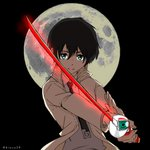 1boy bangs black_hair blue_eyes collared_shirt commentary_request darling_in_the_franxx grey_shirt hiro_(darling_in_the_franxx) holding holding_sword holding_weapon jacket kiasa20 looking_at_viewer male_focus moon necktie objectification open_clothes open_jacket parody shirt short_hair signature solo soul_eater sword weapon white_jacket white_neckwear wing_collar zero_two_(darling_in_the_franxx)