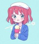 1girl :d aqua_background aqua_hair beret blue_jacket blush_stickers double_scoop food hat highres holding holding_food ice_cream ice_cream_cone jacket kurosawa_ruby looking_at_viewer love_live! love_live!_sunshine!! open_mouth pink_shirt pom_pom_(clothes) red_hair shirt short_hair simple_background smile solo two_side_up upper_body white_headwear yashino_84