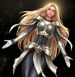 1girl armor backlighting belt black_background blonde_hair blue_eyes bodysuit boobplate bracer breastplate covered_navel dutch_angle gauntlets gloves highres league_of_legends loincloth long_hair looking_at_viewer luxanna_crownguard outstretched_arms simple_background solo very_long_hair white_gloves yy6242