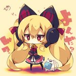 1girl >_< absurdly_long_hair animal animal_ears azur_lane bangs beige_background bell black_jacket blonde_hair blush cat cat_ear_headphones cat_ears chibi closed_eyes concord_(azur_lane) eyebrows_visible_through_hair full_body hair_between_eyes headphones highres jacket jingle_bell long_hair long_sleeves looking_at_viewer mole mole_under_eye mouth_hold muuran open_clothes open_jacket pleated_skirt red_eyes shirt signature skirt sleeves_past_fingers sleeves_past_wrists solo standing star star-shaped_pupils symbol-shaped_pupils translation_request twintails very_long_hair white_shirt white_skirt