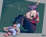 1girl artist_name bare_shoulders barefoot blue_skin blue_skirt blush bound bound_ankles breath commentary covering_mouth detached_sleeves english feet green_background hair_over_one_eye half-closed_eyes hands_up heart highres horizontal-striped_legwear horizontal_stripes knees_up leviathan_(skullgirls) looking_down ponytail red_eyes red_legwear red_shirt ryuji_(red-truth) shirt side_ponytail signature sitting skirt skull skullgirls soles solo speech_bubble spoken_heart squigly_(skullgirls) striped striped_legwear tears tied_hair toes two-tone_background