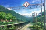 bush cloud fence hill mirror no_humans original outdoors overgrown plant power_lines railroad_tracks rural scenery shi_yu sign sky train_station tunnel vines