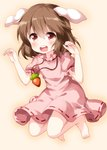 1girl animal_ears arms_up barefoot blush brown_hair buck_teeth bunny_ears carrot_necklace dress eyebrows_visible_through_hair folded_leg gradient gradient_background hair_between_eyes high_collar highres inaba_tewi jumping looking_at_viewer pink_background pink_dress puffy_short_sleeves puffy_sleeves red_eyes ribbon-trimmed_dress ruu_(tksymkw) short_hair short_sleeves solo touhou