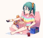 1girl bandaid bandaid_on_knee barefoot beige_background blue_skirt blush bracelet candy collarbone controller crossed_legs cup cushion drinking_glass dvd_case food green_eyes green_hair hair_ornament hair_scrunchie holding_remote_control jewelry lollipop looking_at_viewer miniskirt mouth_hold remote_control scrunchie serizawa_momoka shirt short_sleeves side_ponytail simple_background sitting skirt solo striped striped_shirt taneda_yuuta textless tokyo_7th_sisters yellow_scrunchie