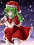 1girl ;) aka_tawashi alternate_costume bangs belt black_belt blush capelet check_commentary cloud commentary_request crescent_print dress eyebrows_visible_through_hair gloves gradient_sky green_eyes green_hair hair_between_eyes hat highres holding holding_sack jumping kazami_yuuka kazami_yuuka_(pc-98) long_hair looking_at_viewer mittens night night_sky one_eye_closed outdoors petals pom_pom_(clothes) red_capelet red_dress red_headwear sack santa_costume santa_hat sky smile solo star star_print touhou touhou_(pc-98) white_gloves white_legwear