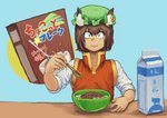 1girl :3 absurdres animal_ears bangs bowl brown_hair cereal cereal_box chanta_(ayatakaoisii) chen earrings eyebrows_visible_through_hair food green_headwear hat highres holding holding_spoon jewelry long_sleeves looking_at_viewer milk milk_carton mob_cap red_vest shirt short_hair smile solo spoon touhou translation_request upper_body vest white_shirt