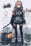 1girl black_gloves black_legwear blue_eyes blush cable closed_mouth commentary_request gloves grey_background grey_shirt highres holding holding_sword holding_weapon inabi jacket leg_belt light_brown_hair long_hair long_sleeves looking_at_viewer low_twintails original robot shirt smile solo standing sword thighhighs twintails weapon