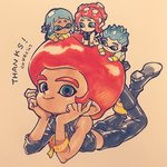 2boys 2girls afro artist_name asymmetrical_sleeves black_footwear black_pants blue_eyes blue_hair boots cokeshi english highres inkling looking_at_viewer lying midriff multiple_boys multiple_girls octoling on_stomach pants red_hair short_hair smile spiked_hair splatoon splatoon_2 splatoon_2:_octo_expansion squidbeak_splatoon tag