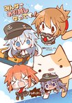 4girls :3 :d >_< @_@ akatsuki_(kantai_collection) anchor_symbol animal bangs black_hat black_legwear black_sailor_collar black_skirt blue_eyes blue_sky brown_eyes brown_hair cat closed_eyes closed_mouth cloud commentary_request cover cover_page day eyebrows_visible_through_hair fang flat_cap folded_ponytail hair_between_eyes hands_up hat hibiki_(kantai_collection) highres horizon ikazuchi_(kantai_collection) inazuma_(kantai_collection) kantai_collection kneehighs long_sleeves mouth_hold multiple_girls necktie ocean open_mouth outdoors pantyhose partially_translated pleated_skirt purple_eyes purple_hair red_neckwear sailor_collar school_uniform serafuku shirt short_necktie silver_hair sitting skirt sky sleeves_past_wrists smile teardrop translation_request v-shaped_eyebrows water wavy_mouth white_shirt wishbone xd