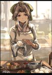 1girl alternate_costume apron blush bowl breasts brown_eyes brown_hair cherry cooking croquette dish eyebrows_visible_through_hair fish food fruit headband highres indoors japanese_clothes jintsuu_(kantai_collection) kantai_collection kappougi kimono kitchen long_hair long_sleeves looking_at_viewer medium_breasts nori_(seaweed) onigiri plate ponytail rice seitei_(04seitei) smile solo table twitter_username vegetable water