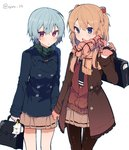 2girls ayanami_rei bag_charm bangs black_neckwear blue_eyes blue_hair blue_jacket blush brown_cardigan brown_gloves brown_hair brown_jacket brown_legwear brown_scarf brown_skirt charm_(object) cowboy_shot eyebrows_visible_through_hair fringe_trim gloves green_scarf hair_between_eyes hand_up holding_hands ikeuchi_tanuma jacket long_hair long_sleeves multiple_girls neon_genesis_evangelion open_clothes open_jacket open_mouth pantyhose parted_lips plaid plaid_scarf pleated_skirt red_eyes scarf school_briefcase school_uniform simple_background skirt souryuu_asuka_langley twitter_username white_background