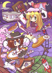 2girls backpack bag blonde_hair blue_eyes book bookshelf boots brown_hair cake capelet card chibi clock crescent_moon cup curtains doughnut dress food fushigi_ebi green_eyes ground_vehicle hat hat_feather highres holding holding_book house long_hair maribel_hearn moon multiple_girls open_book plate playing_card sky slice_of_cake star_(sky) starry_sky sweets teacup teapot touhou train usami_renko window