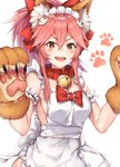 1girl :d absurdres animal_ear_fluff animal_ears apron bangs bare_shoulders bell bell_collar black_cola blush_stickers bow breasts brown_gloves brown_hair cat_hair_ornament collar commentary eyebrows_visible_through_hair fang fate/grand_order fate_(series) fox_ears gloves hair_between_eyes hair_bow hair_ornament heart heart-shaped_pupils high_ponytail highres jingle_bell long_hair looking_at_viewer maid_headdress medium_breasts naked_apron open_mouth paw_gloves paws pink_hair ponytail red_bow red_collar sideboob sidelocks simple_background smile solo symbol-shaped_pupils tamamo_(fate)_(all) tamamo_cat_(fate) white_apron white_background