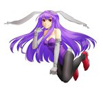 1girl animal_ears bare_arms bare_shoulders black_legwear breasts bridal_gauntlets bunny bunny_ears bunny_girl bunny_tail bunnysuit cleavage collarbone finger_to_mouth gauntlets hyounosen_ena leotard lips long_hair looking_at_viewer mound_of_venus pantyhose purple_hair red_eyes red_shoes reisen_udongein_inaba shoes simple_background smile solo tail touhou very_long_hair white_background