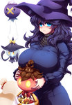 1girl ahoge basket blue_eyes blush breasts candy closed_mouth commentary_request dress drifloon food frown gen_4_pokemon gen_5_pokemon gen_6_pokemon hat hex_maniac_(pokemon) highres huge_breasts lampent long_hair looking_at_viewer messy_hair pokemon pokemon_(creature) pokemon_(game) pokemon_xy pumpkaboo purple_dress purple_hair ringed_eyes simple_background solo standing tokyo_(great_akuta) wavy_mouth white_background witch_hat