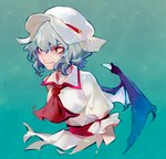 1girl aqua_background arlmuffin ascot bat_wings blue_hair commentary cropped_torso dress frilled_sleeves frills hat mob_cap puffy_short_sleeves puffy_sleeves red_eyes remilia_scarlet ribbon_trim short_hair short_sleeves solo touhou upper_body white_dress white_headwear wings