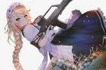 1girl apron aqua_eyes assault_rifle bangs blonde_hair blush braid breasts closed_mouth dress eyebrows_visible_through_hair g36 g36_(girls_frontline) girls_frontline gloves grey_background gun hair_between_eyes hanato_(seonoaiko) heckler_&_koch holding light_particles long_hair looking_at_viewer maid maid_headdress medium_breasts rifle sidelocks simple_background single_braid skirt solo sparkle trigger_discipline twitter_username very_long_hair weapon white_gloves