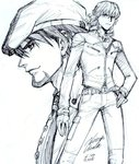 2boys barnaby_brooks_jr cabbie_hat glasses graphite_(medium) hat jacket kaburagi_t_kotetsu multiple_boys tiger_&_bunny traditional_media ueda_hiroshi