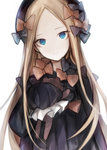 1girl abigail_williams_(fate/grand_order) bangs black_bow black_dress black_hat blonde_hair blue_eyes bow butterfly closed_mouth commentary_request dress fate/grand_order fate_(series) forehead hair_bow hasunokaeru hat head_tilt holding holding_stuffed_animal long_sleeves looking_at_viewer orange_bow parted_bangs polka_dot polka_dot_bow simple_background sleeves_past_wrists solo stuffed_animal stuffed_toy teddy_bear white_background