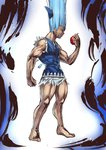 1boy abs apple asutora aura bare_arms barefoot blue_background blue_bow blue_eyes blue_hair blue_vest bow cirno clenched_hand commentary_request food forehead fruit full_body genderswap genderswap_(ftm) gon-san gradient gradient_background hair_bow hair_raising hand_up highres holding holding_fruit hunter_x_hunter ice ice_wings long_hair male_focus muscle parody profile shirt sleeveless sleeveless_shirt solo torn_clothes touhou vest white_background white_shirt wings