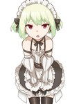 1boy absurdres alternate_costume apron bunngaku_mayuge earrings enmaided frills green_hair highres jewelry lio_fotia looking looking_at_viewer maid maid_apron maid_headdress male_focus open_mouth promare puffy_sleeves purple_eyes waist_apron