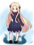 1girl abigail_williams_(fate/grand_order) bangs black_bow black_dress black_footwear blonde_hair bloomers blue_eyes blurry blurry_background blush bow bug butterfly closed_mouth commentary_request depth_of_field dress eyebrows_visible_through_hair fate/grand_order fate_(series) forehead full_body hair_bow highres insect kujou_karasuma long_hair long_sleeves looking_at_viewer mary_janes no_hat no_headwear orange_bow parted_bangs shoes signature sleeves_past_fingers sleeves_past_wrists smile solo tentacles underwear very_long_hair white_bloomers