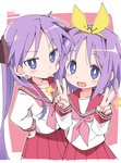 2girls blush closed_mouth double_v eyebrows_visible_through_hair hairband hand_on_hip hiiragi_kagami hiiragi_tsukasa ixy long_hair looking_at_viewer lucky_star multiple_girls open_mouth pink_neckwear pleated_skirt purple_eyes purple_hair red_sailor_collar red_skirt ryouou_school_uniform sailor_collar school_uniform serafuku short_hair siblings sisters skirt smile twintails v yellow_hairband