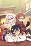 3girls :q absurdres ahoge alternate_hairstyle artist_name bespectacled black_hair black_legwear blue_eyes blurry blush book braid brown-framed_glasses brown_eyes brown_hair bunny_print casual chestnut_mouth chin_rest cup depth_of_field fireplace fleur_de_lis glasses gochuumon_wa_usagi_desuka? hair_down hand_on_own_cheek highres holding holding_book hooded_sweater hoodie jouga_maya kafuu_chino koi_(koisan) lavender_hair long_hair long_sleeves looking_at_viewer lying mug multiple_girls natsu_megumi official_art on_stomach open_book open_mouth over-rim_glasses plaid pocky print_legwear print_sweater red-framed_glasses red_legwear scan semi-rimless_glasses shorts sitting sleeves_past_wrists smile snowflake_print stuffed_animal stuffed_bunny stuffed_toy sweater thighhighs tongue tongue_out twin_braids yellow_eyes