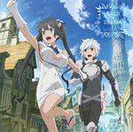 1boy 1girl :d armpits bangs bell_cranel black_gloves black_hair black_pants black_shirt blue_eyes blue_neckwear bouncing_breasts breastplate breasts breasts_apart cleavage_cutout clenched_hand day dress dungeon_ni_deai_wo_motomeru_no_wa_machigatteiru_darou_ka gloves hestia_(danmachi) highres holding_hands large_breasts leg_up long_hair official_art open_mouth outdoors outstretched_arm pants red_eyes rei_no_himo road shiny shiny_skin shirt short_dress shoulder_armor sideboob silver_hair sleeveless sleeveless_dress smile street swept_bangs twintails very_long_hair walking white_dress white_gloves